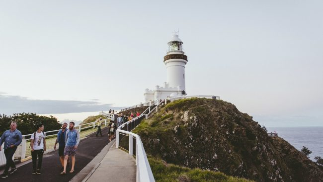 People enjoying a visit to Cape Byron Lighthouse, Byron Bay. Picture: Destination NSW