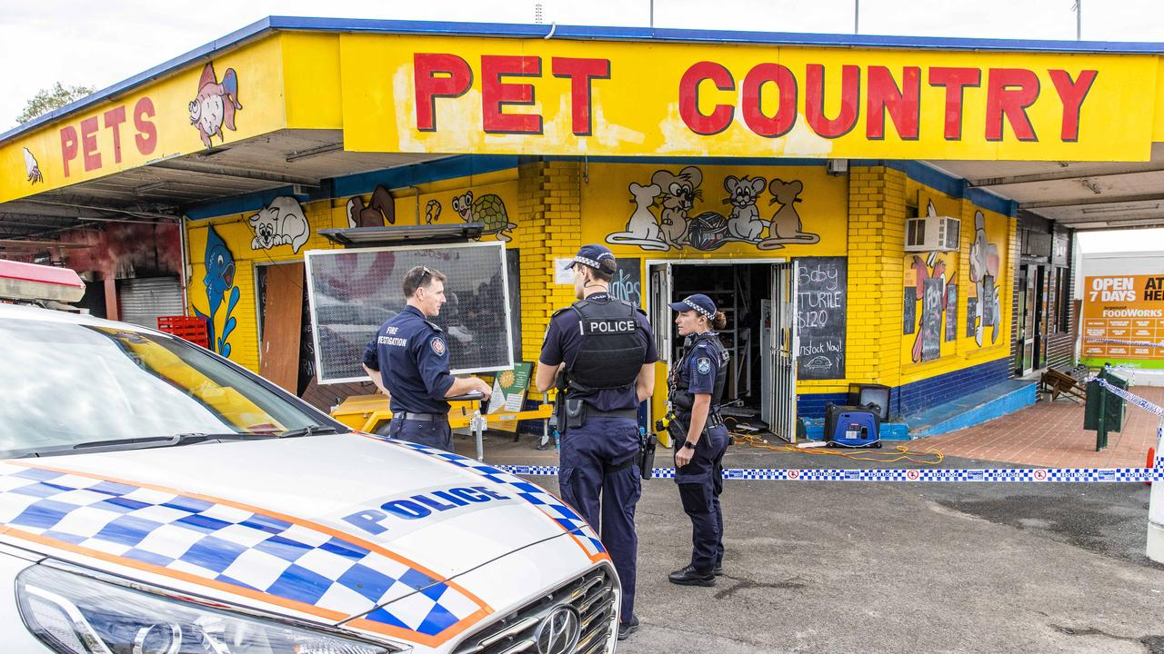 Police and fire crews are investigating whether a blaze that killed several animals in a pet shop was suspicious.