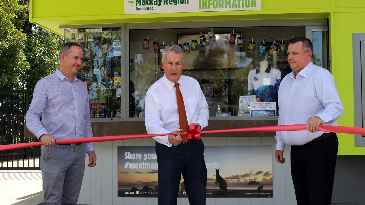 Mackay Tourism chief executive officer Tas Webber, Mackay Regional Council Mayor Greg Williamson and Mackay Airport general manager Garry Porter cut the ribbon at the new Mackay Visitor Information Kiosk at Bluewater Lagoon on Tuesday August 25.