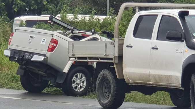 Ute lands in ditch during peak-hour traffic crash