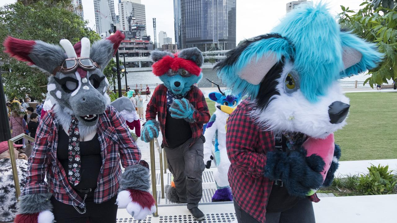 "A flurry of furries at South Bank. ""There's a whole lot of humanity in being a furry."" Picture: Mark Cranitch"