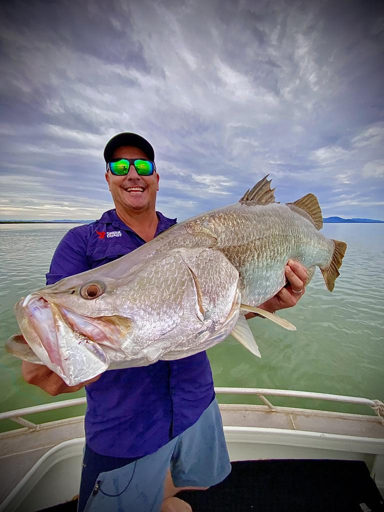 Fishing guru Scott Hillier smashed his saltwater PB when he caught this 1.02m barra while filming in Rockhampton. Picture: Scott Hillier