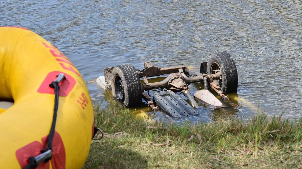 Stolen car dumped in Bakers Creek. Picture: Lillian Watkins