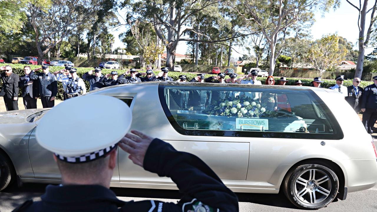 The funeral service for Senior Constable Brett Forte. Picture: Annette Dew