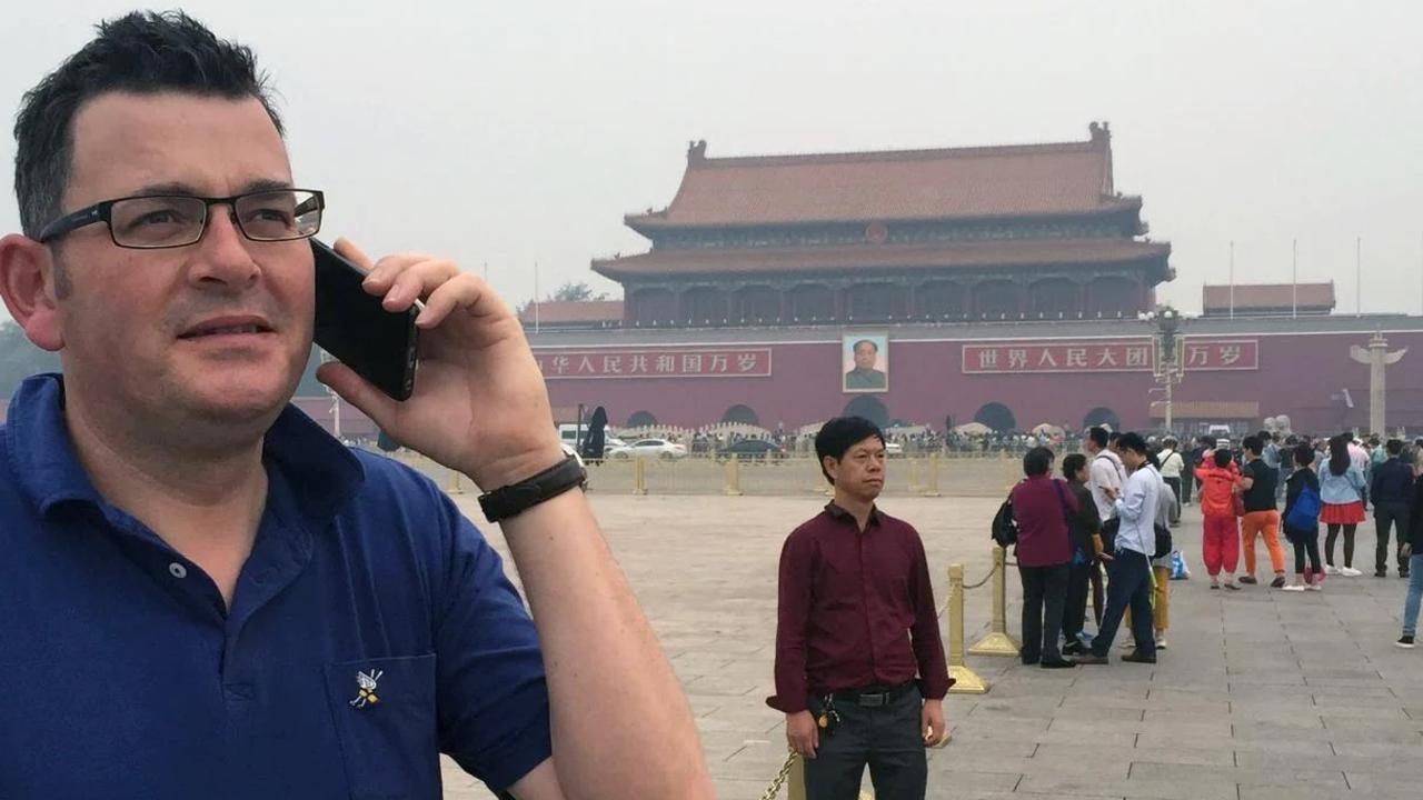 Victorian Premier Daniel Andrews in Tiananmen Square. Picture: Twitter: Lisa Tucker