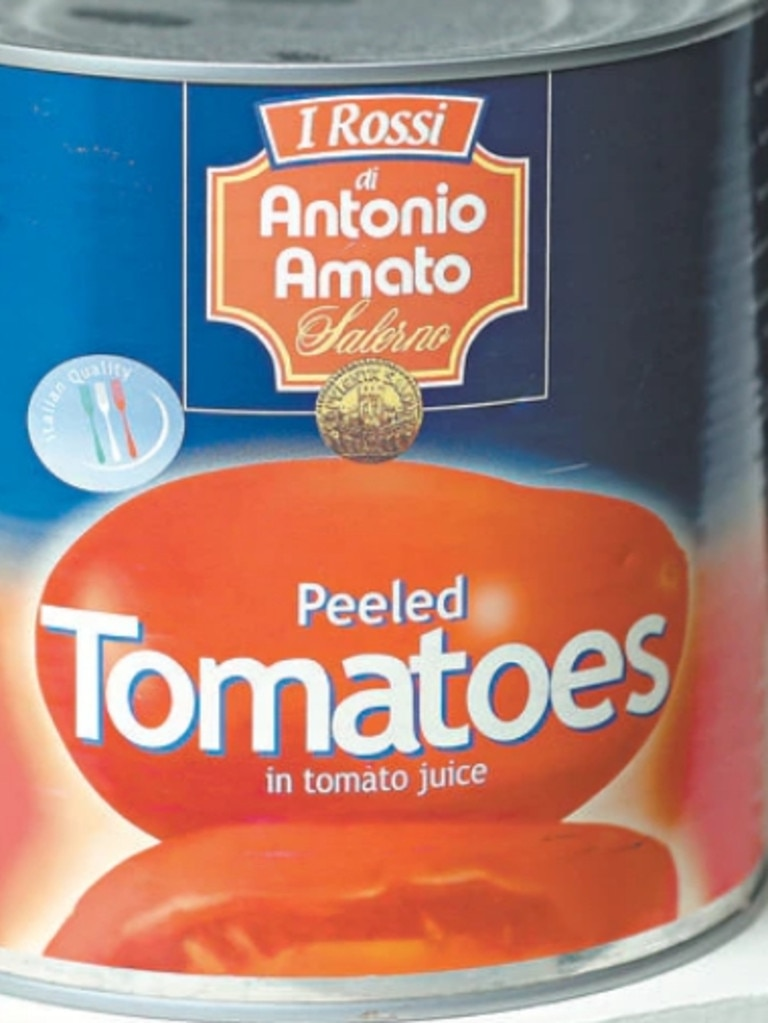 Tomato tins from Italy were jammed with more than four tonnes of ecstasy tablets. Picture: Australian Customs Service