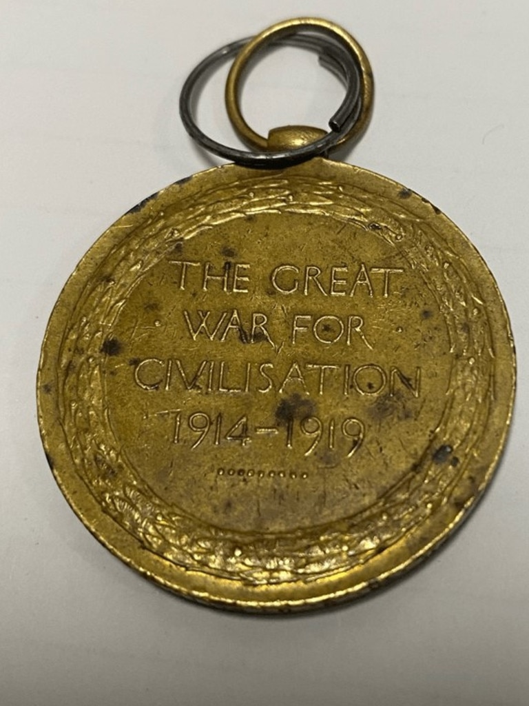 The war medal belonging to Private R.S.G. Smith. Picture: Victoria Police
