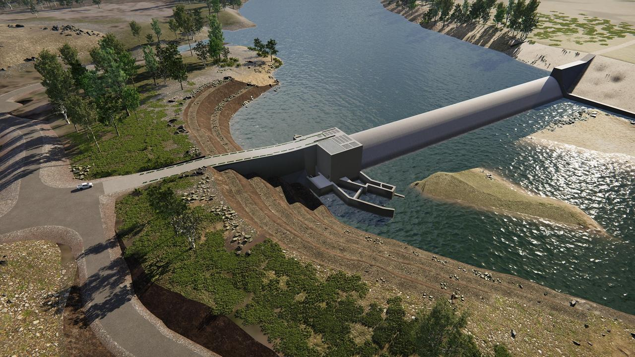 Concept image of the completed Rookwood Weir. Picture: Sunwater