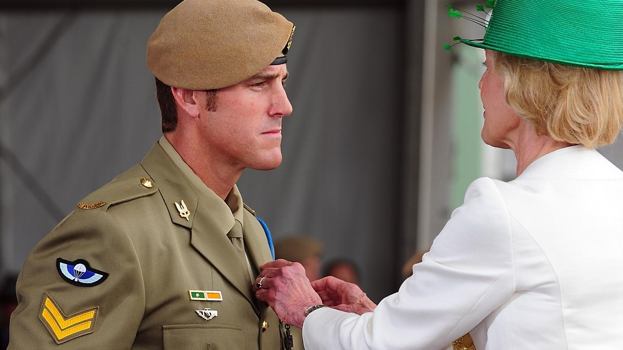 Quentin Bryce, then governor-general, awards the Victoria Cross for Australia to Ben Roberts-Smith at Campbell Barracks in Perth on January 23, 2011. Picture: Department of Defence