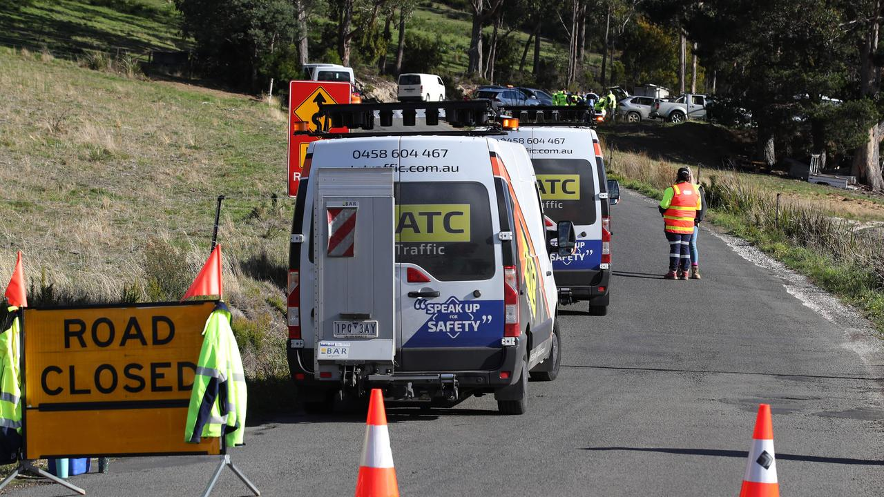 Wattle Grove Rd was closed after the double fatal Targa Tasmania crash this morning. Picture: Zak Simmonds