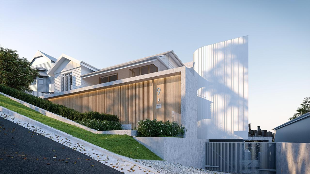 An architect's rendering of the front street view of 9 Reading St, Paddington, showing the steeply sloping street. Neighbour Steve Baxter lives on the lower side of the home, to the right of this image.