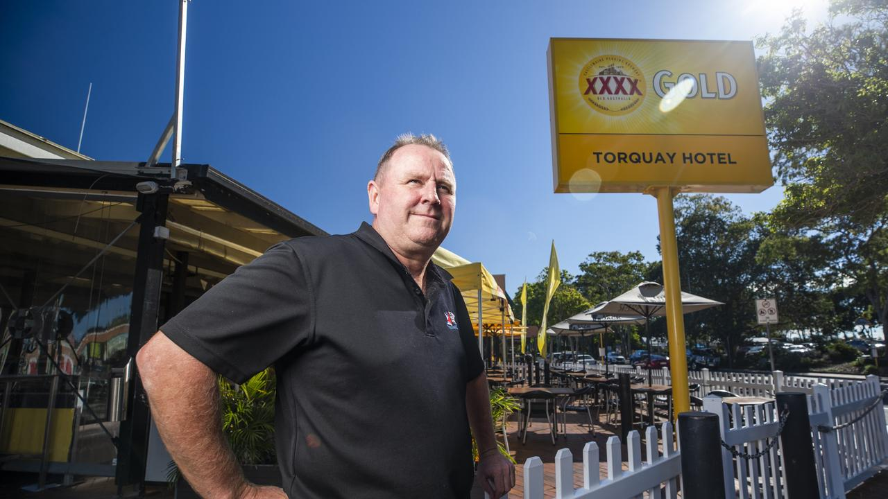 Publican Darren Carter at the Torquay Hotel in Hervey Bay where he is struggling to hire staff in a town with one of Queensland's highest unemployment rates. Picture: Lachie Millard.