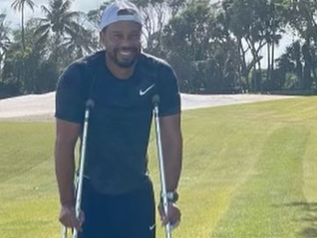 Tiger Woods has been pictured for the first time since his horror car crash as he updated fans on his slow recovery.