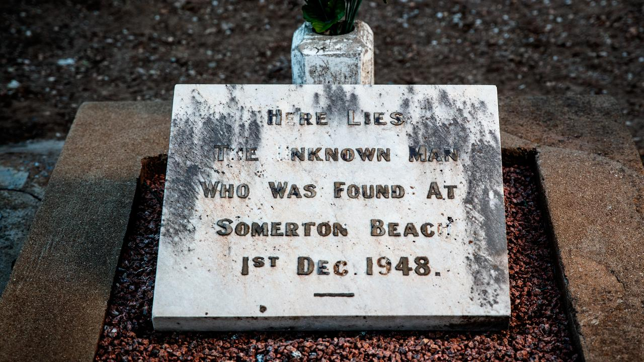 The headstone on the Somerton Man's West Tce cemetery grave. Picture: Matt Turner