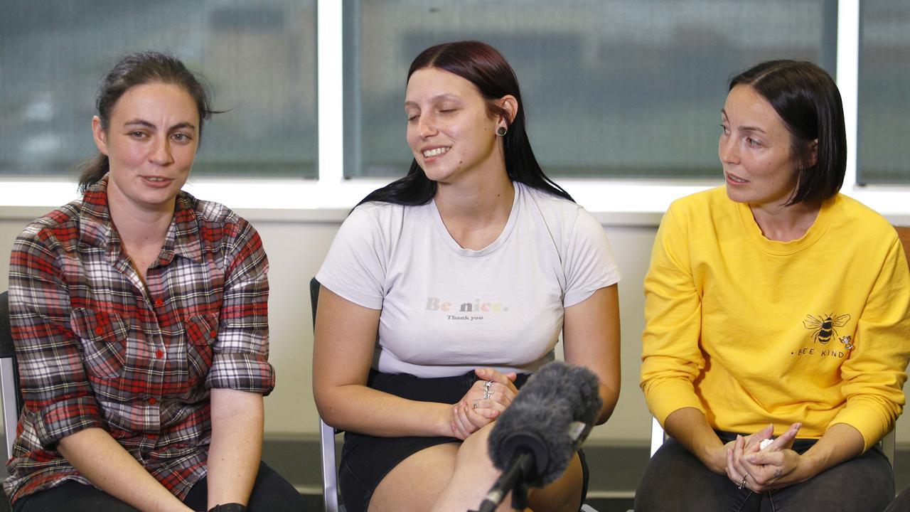 Kelly Wilkinson's family on the Gold Coast. Sisters Emma Wilkinson, Natalie Wilkinson, Danielle Carroll. Picture: Tertius Pickard