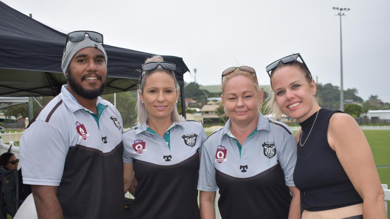 AFL Anzac Day game: Jo Hyatt, Chardae Prosser, Kelvin Prosser and Sarah Rook. Picture: Melanie Whiting