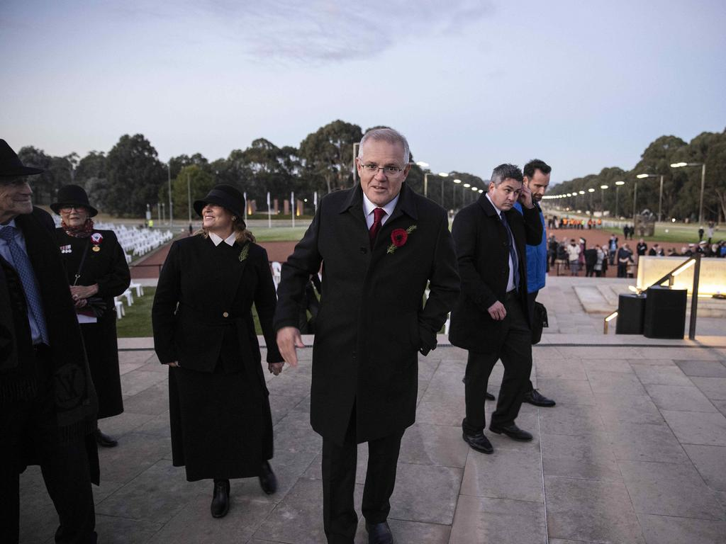 Prime Minister Scott Morrison and his wife Jenny in Canberra on Anzac Day. Picture: NCA NewsWire / Gary Ramage