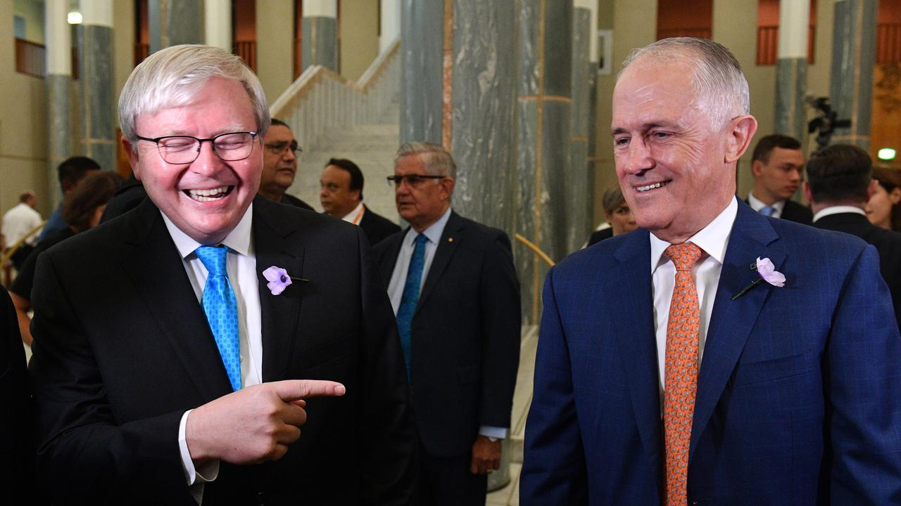 Former prime ministers Kevin Rudd and Malcolm Turnbull. Picture: AAP Image/Mick Tsikas