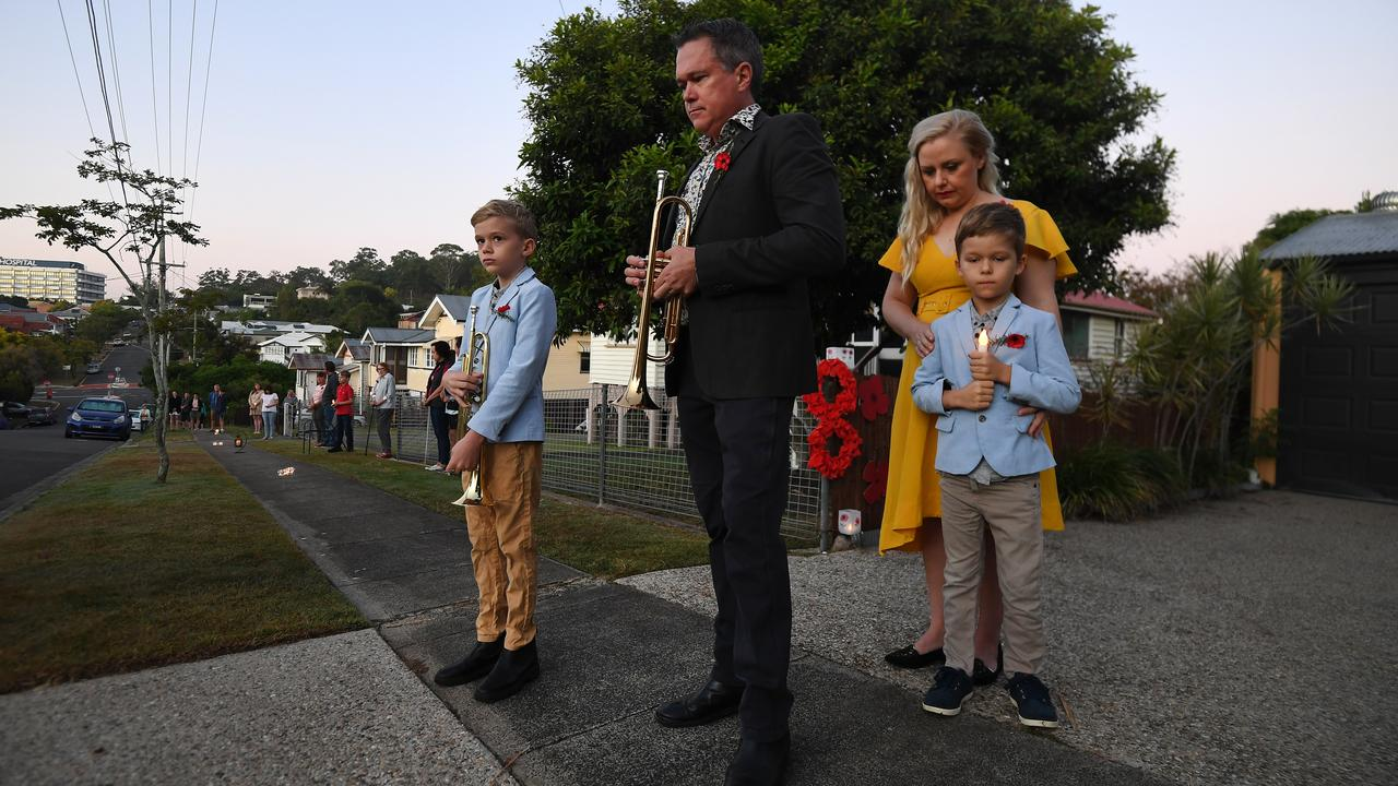 Australian commemorated Anzac Day in their driveways last year due to the pandemic. Picture: AAP Image/Dan Peled