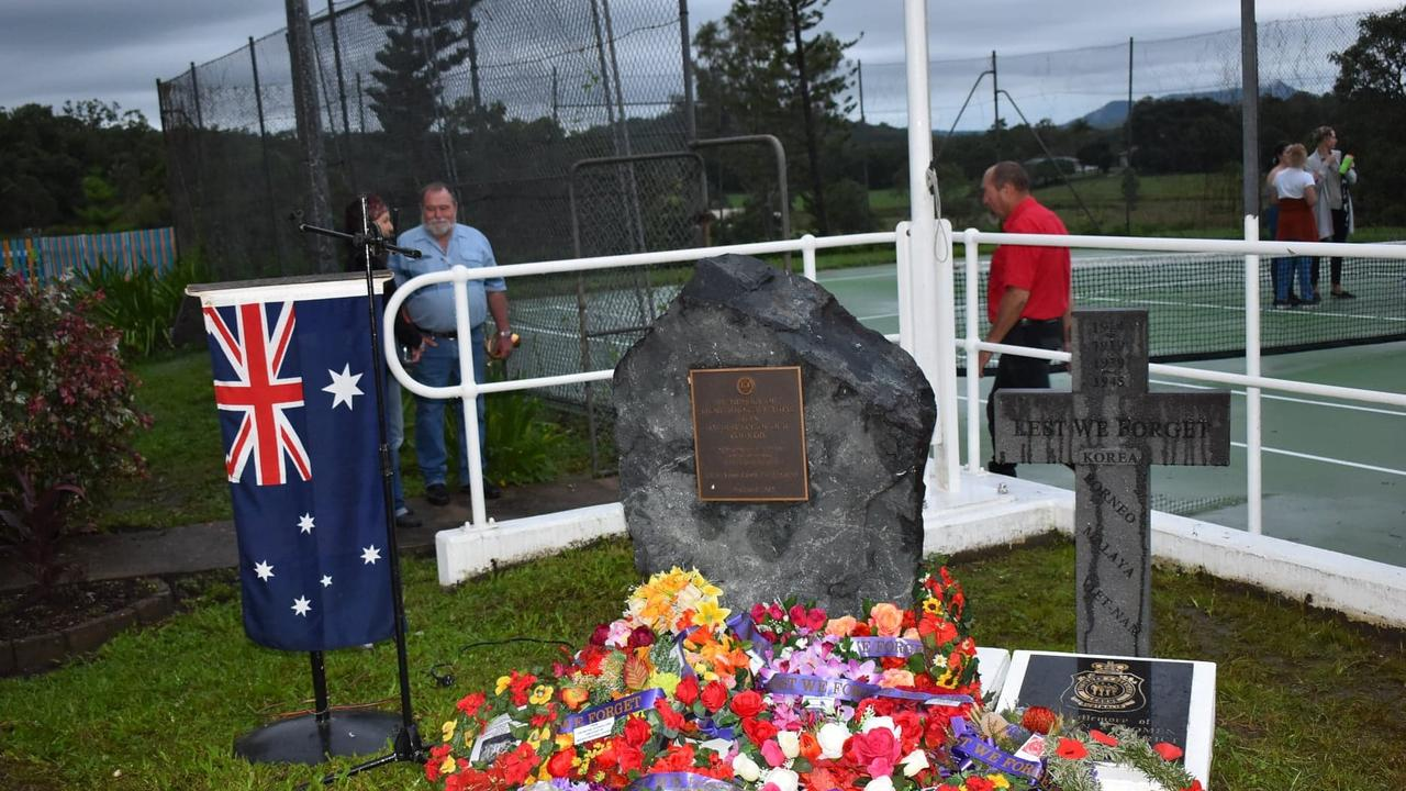 Wreaths laid at the Kuttabul Anzac Day 2021 Dawn Service. Picture: Lillian Watkins