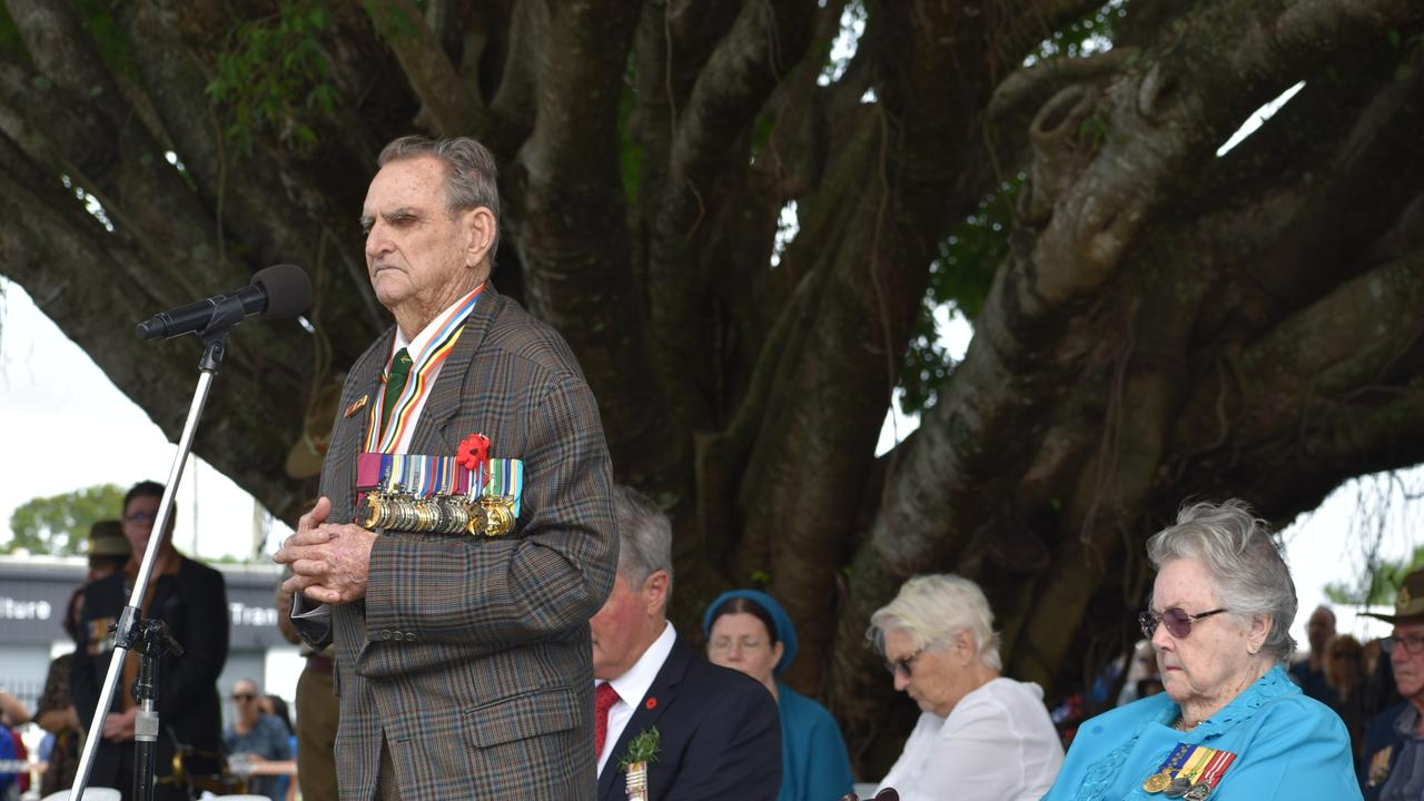 Vietnam War veteran and Australia's oldest surviving Victoria Cross recipient Keith Payne speaking at the Mackay ANZAC Day march 2021. Picture: Lillian Watkins
