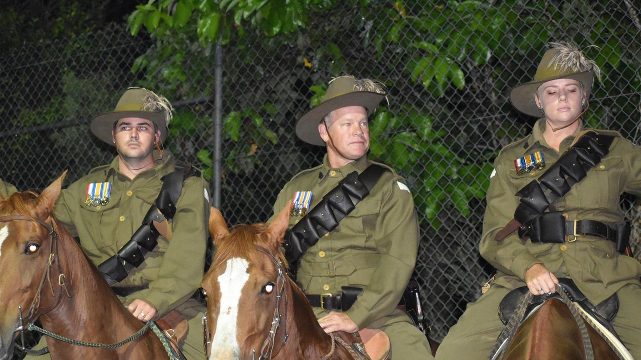 Ben Burston, John McGill and Ellise Burston riding to honour the ANZAC Light Horse infantry at the Kuttabul dawn service at the Hampden State School Remembrance Garden 2021. Picture: Lillian Watkins