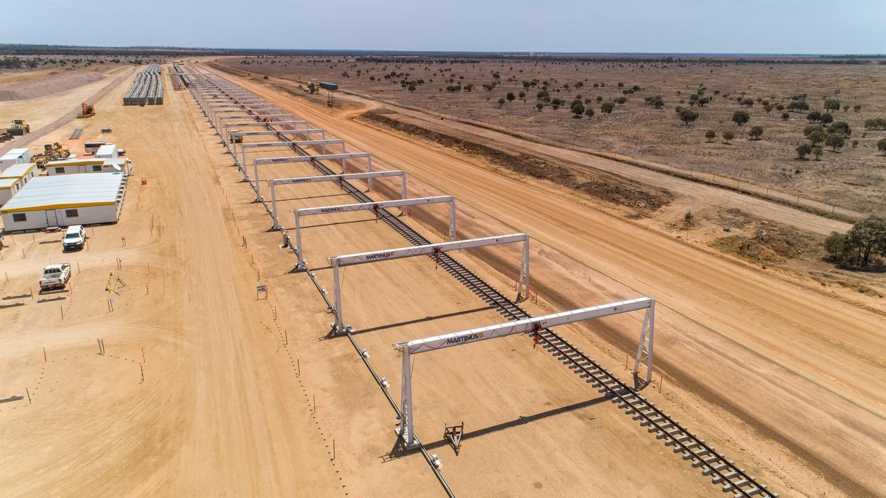Steel track has been delivered to develop the rail line for Adani's Carmichael coal mine in Central Queensland. Picture: Cameron Laird