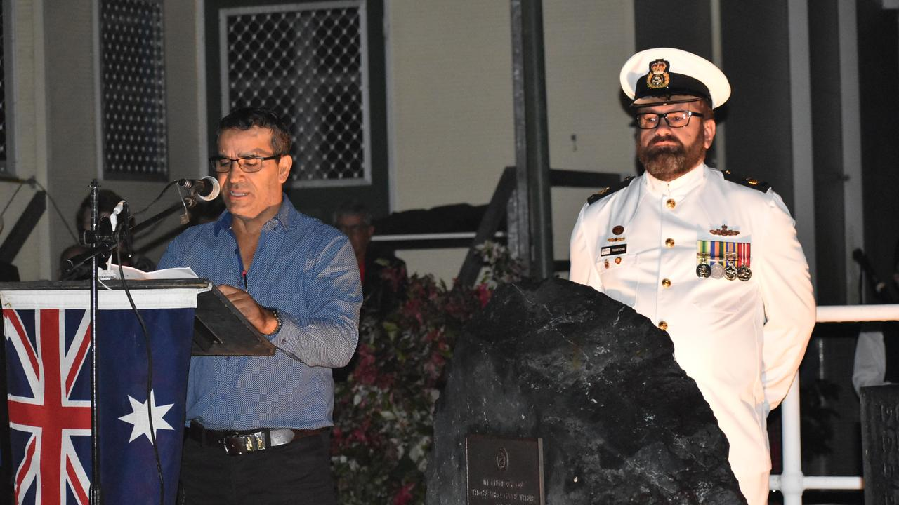 MC Chris Purna and a navy officer at the Kuttabul dawn service at the Hampden State School Remembrance Garden 2021. Picture: Lillian Watkins