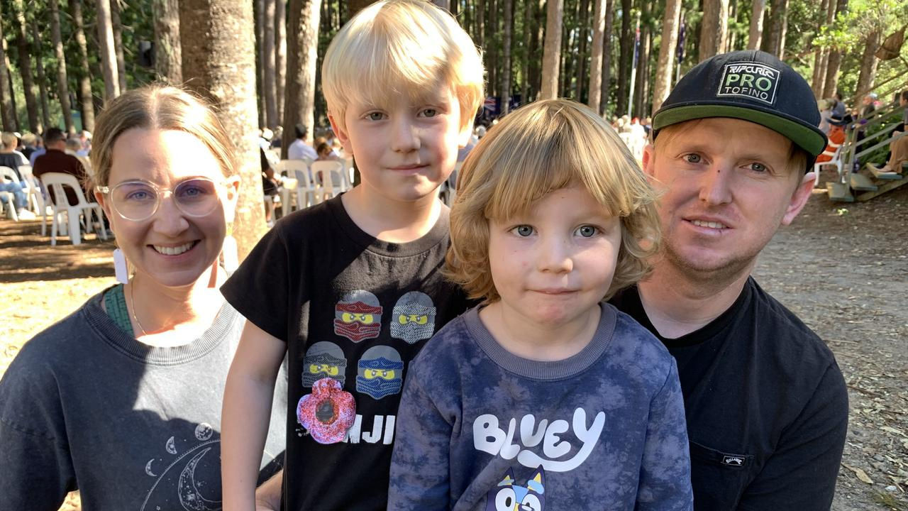 Kate, Sam, 5, Lachy, 3 and James McMillan commemorate Anzac Day at Buderim.