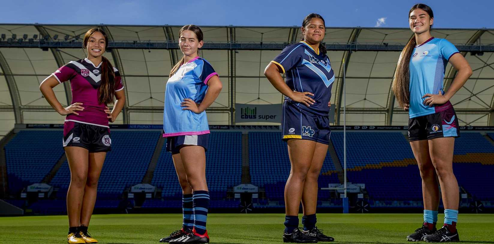 Titans Cup rugby league preview. Leilani Taofinuu, 13 (Marsden), Lily Prendergast, 17 (Marymount College), Jaydah Tofae, 15 (Mabel Park SHS), and Sunny Gerrard, 17 (Keebra Park SHS) at Cbus Super Stadium, Robina. Picture: Jerad Williams