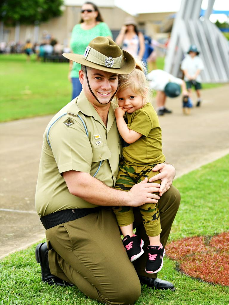 5th Av TPR Liam O'Leary with daughter Ava O'Leary 5 . ANZAC Day ceremony at Thuringowa Cenotaph, Riverway. Picture: Alix Sweeney