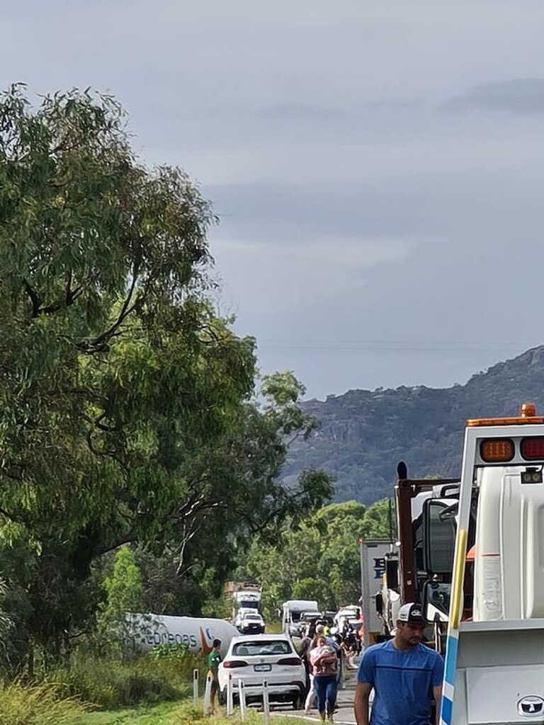 A truck crash on the Bruce Highway at Bowen.