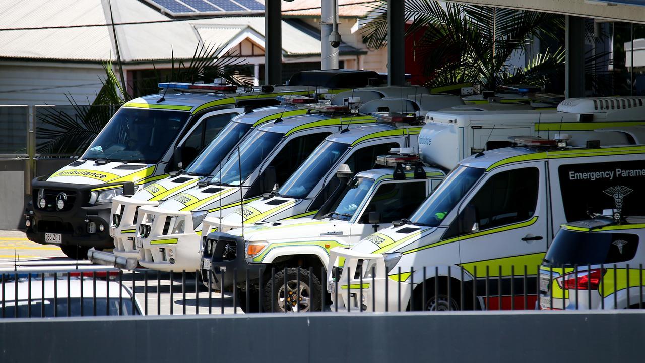 Ambulance ramping at the Princess Alexandra Hospital at Buranda in March. Picture: David Clark