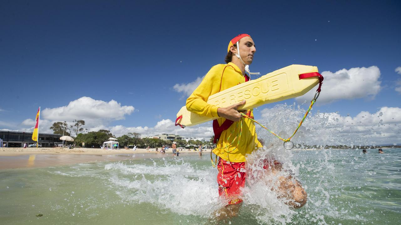 Lifesavers and lifeguards from Mooloolaba and Kawana performed CPR on a 28-year-old man after rescuing a group of swimmers at Buddina. Picture: Lachie Millard/File.