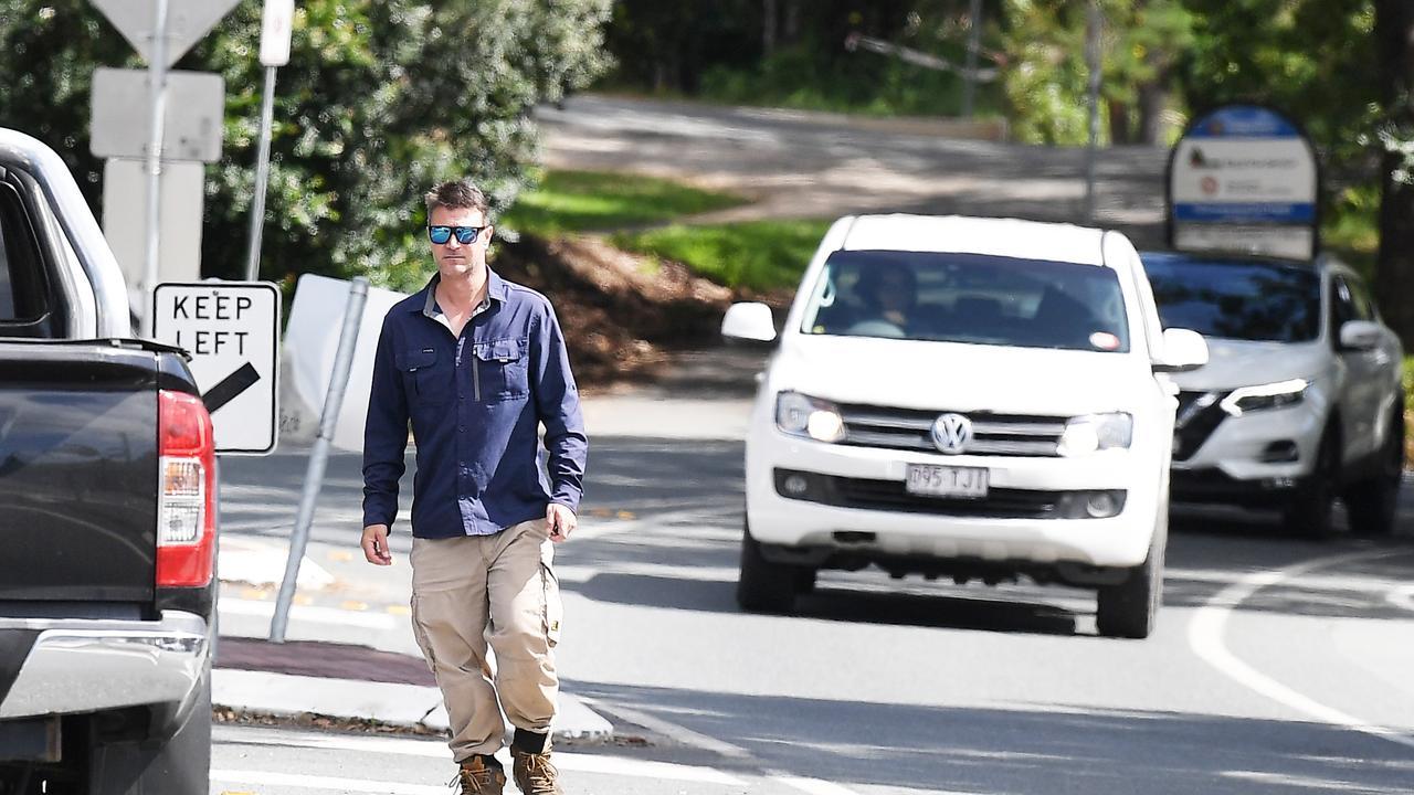 A pedestrian crosses Margaret Street in Palmwoods. Picture: Patrick Woods.