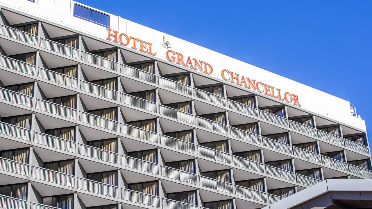 Exterior of Hotel Grand Chancellor Brisbane, Spring Hill, where COVID-19 once leaked out from quarantine. Picture: Richard Walker