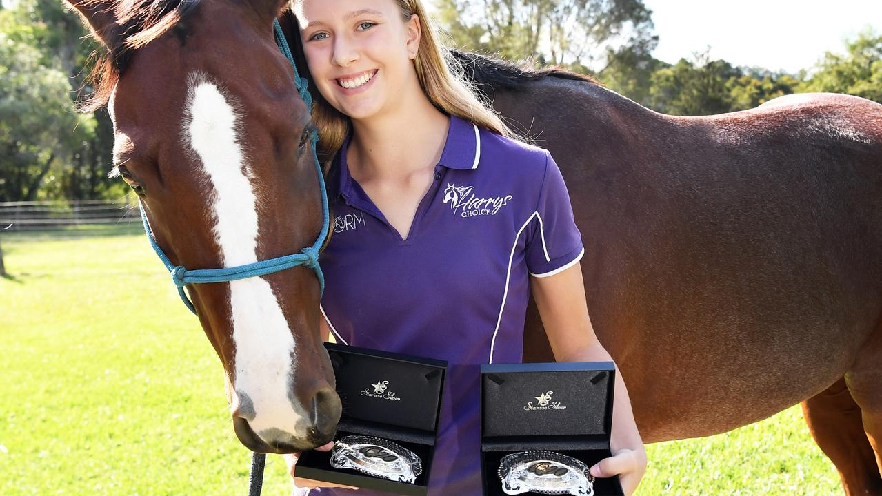 Alyssa Dinnage won two Aussie championship medals for horse riding. Picture: Patrick Woods.