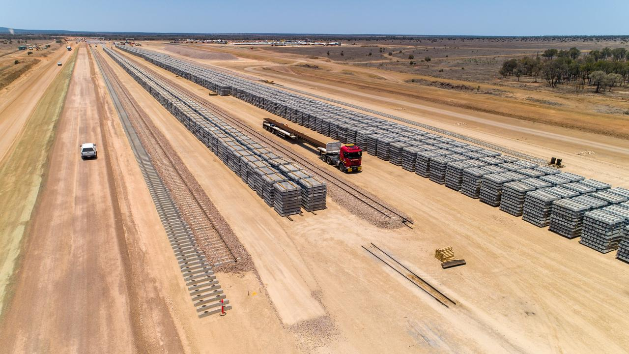 Concrete sleepers have been delivered to develop the rail line for the Carmichael coal mine in Central Queensland. Picture: Cameron Laird