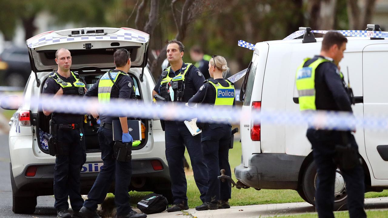 Police of the scene of a suspected stabbing in Fagg St, Thomson on Monday. Picture: Alison Wynd