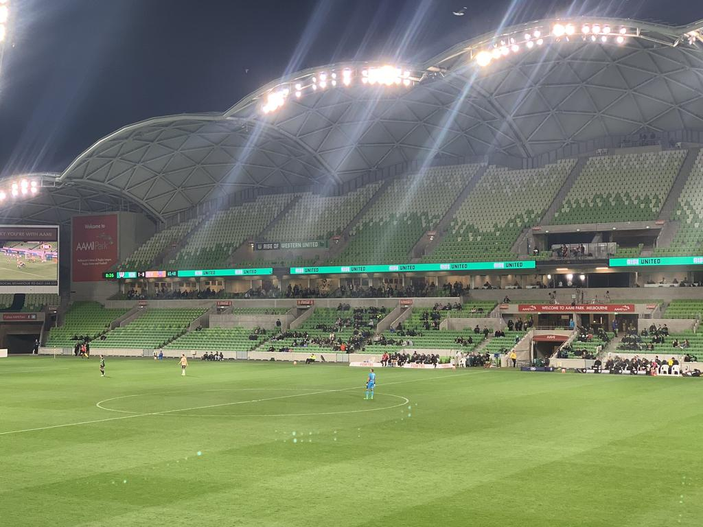 A football fan posted photos of the empty stands. Picture: @j_foreigner/Twitter