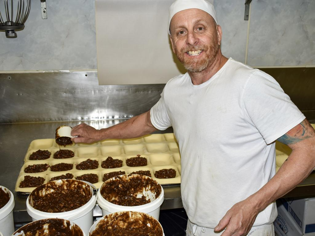 Colin Hogan is the pastry chef at Proserpine Pies and Pastries. Picture: Kirra Grimes