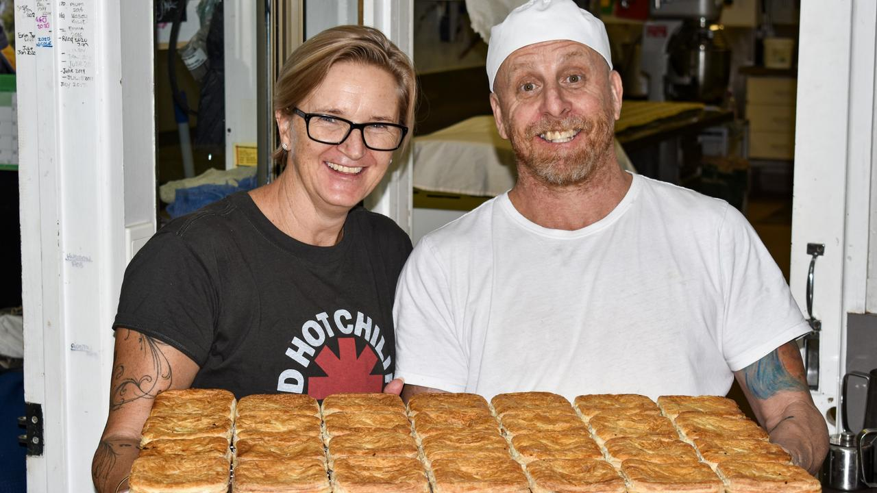 Proserpine Pies and Pastries owners, husband and wife team Kim Hogan and Colin Hogan. Picture: Kirra Grimes