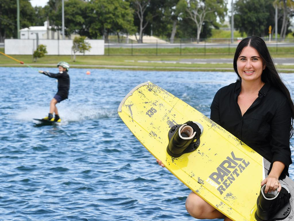 Amanda Pelagalli from the WakeHouse Cable Park in Andergrove. Corey Seach, 7, is riding in the background. Picture: Tony Martin