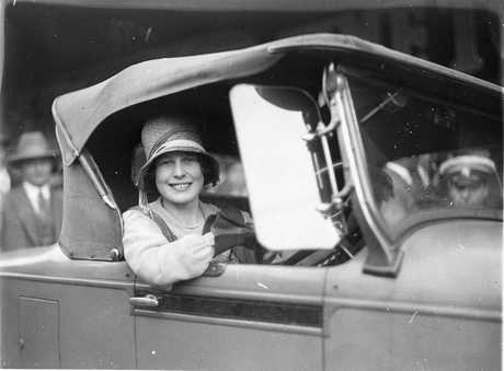 Beryl Mills in her new Chrysler convertible. Photo care of State Library of New South Wales.