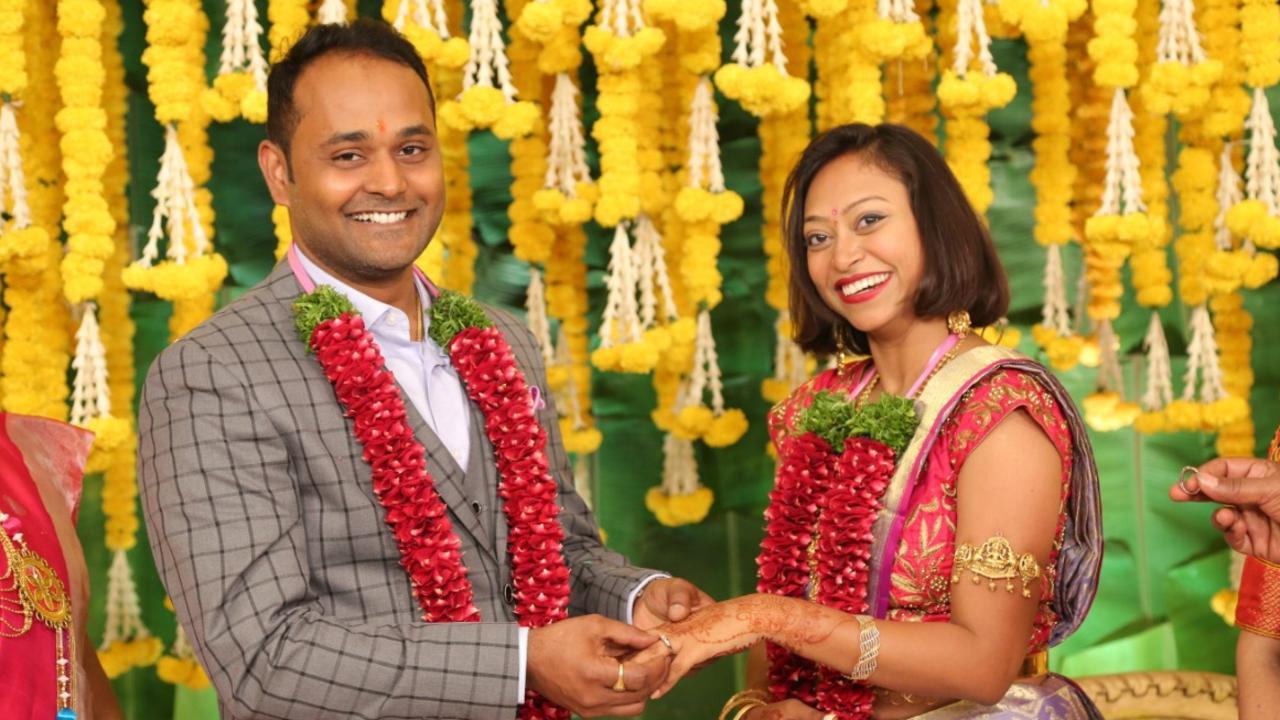 Rashmi Subudhi with fiance Sai Krishna Konchada at their engagement ceremony.