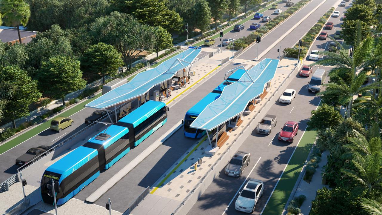 An artist's impression of bus rapid transit, which is one of the options presented in Sunshine Coast Council's Draft Options Analysis for a mass transit plan.