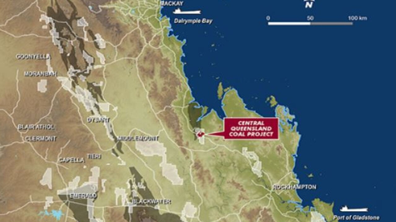 A map of the proposed Central Queensland Coal Project near St Lawrence. Picture: CQ Coal