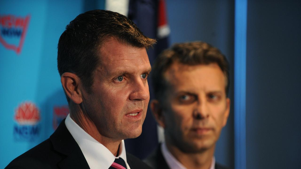 NSW Premier Mike Baird announcing the deal to give 50 per cent control of the Port of Newcastle to CMPort in 2014.