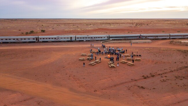 Ghan Expedition, Canape Outback Fire. Picture: Journey Beyond