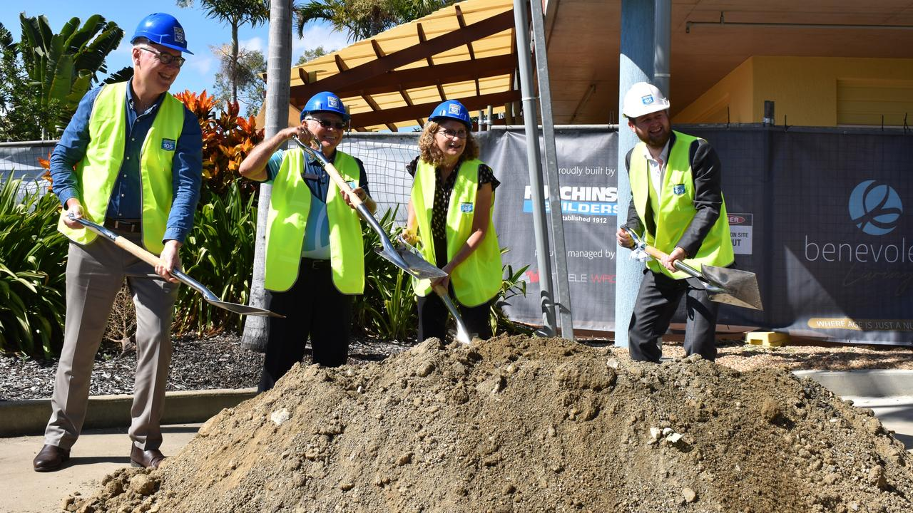 Tom Moore, Kevin Hogan, Alison Moss and Jack Hutchinson officially turned the sod on the $47 million Rhythms of Life project at Benevolent Living on Wednesday April 28.